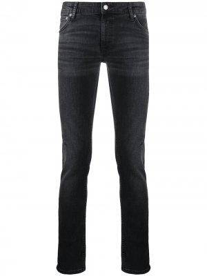 Джинсы скинни с эффектом потертости Nudie Jeans. Цвет: черный