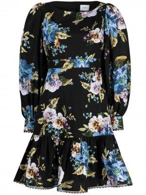 Поплиновое платье Rydal с цветочным принтом Erdem. Цвет: черный