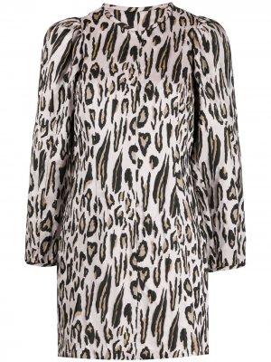 Платье мини с длинными рукавами и леопардовым принтом Baum Und Pferdgarten. Цвет: розовый