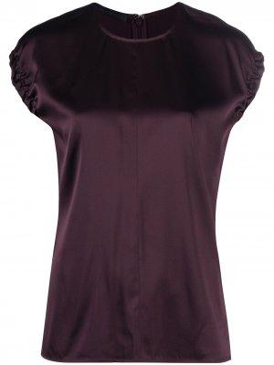 Атласная блузка с кулиской Helmut Lang. Цвет: красный