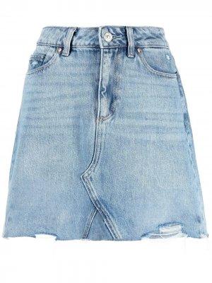 Джинсовая юбка с завышенной талией PAIGE. Цвет: синий
