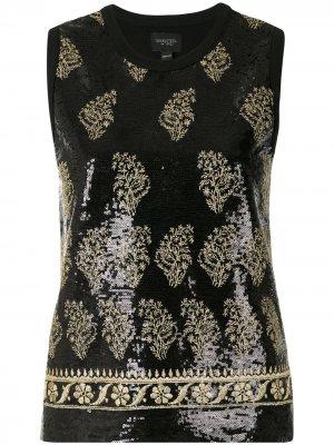 Топ с вышивкой пайетками Giambattista Valli. Цвет: черный