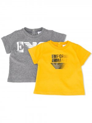 Комплект из двух футболок с логотипом Emporio Armani Kids. Цвет: серый