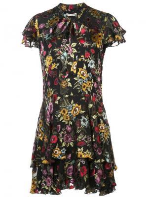 Платье мини с цветочным принтом Alice+Olivia. Цвет: черный