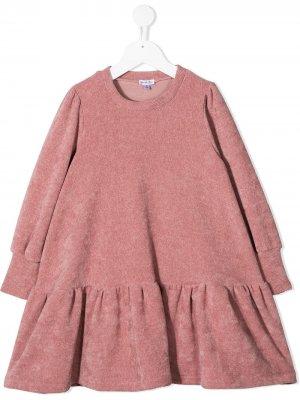 Расклешенное трикотажное платье Piccola Ludo. Цвет: розовый