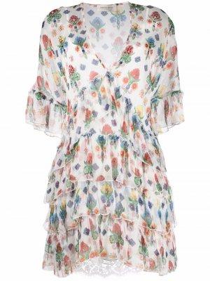 Платье с оборками и цветочным принтом Ermanno. Цвет: белый