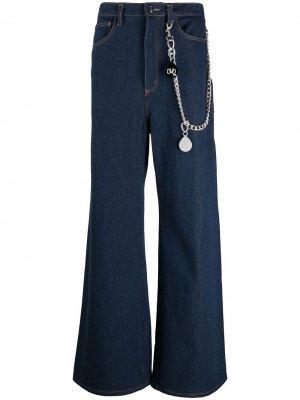 Широкие джинсы с цепочкой DUOltd. Цвет: синий