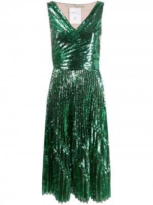 Коктейльное платье с пайетками Marco De Vincenzo. Цвет: зеленый
