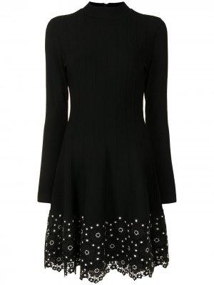 Платье с цветочным кружевом Lela Rose. Цвет: черный
