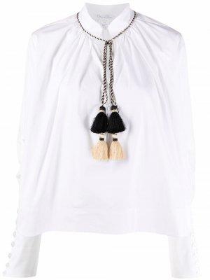 Поплиновая блузка с кисточками Oscar de la Renta. Цвет: белый
