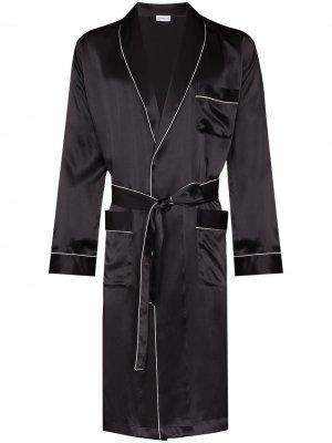 Халат с завязками Zimmerli. Цвет: черный