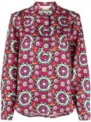 Рубашка с геометричным принтом La Doublej. Цвет: розовый