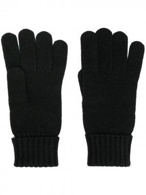 Перчатки с вышивкой Lacoste. Цвет: черный