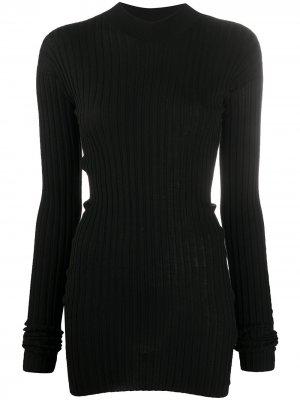 Джемпер в рубчик с высоким воротником Bottega Veneta. Цвет: черный