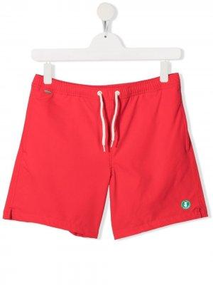 Плавки-шорты Cody с нашивкой-логотипом Save The Duck Kids. Цвет: красный