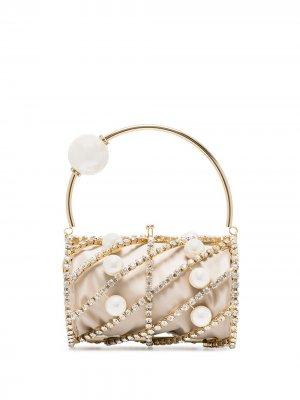 Каркасная сумка Brigitta с кристаллами Rosantica. Цвет: нейтральные цвета