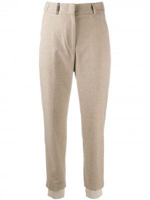Укороченные зауженные брюки Peserico. Цвет: нейтральные цвета