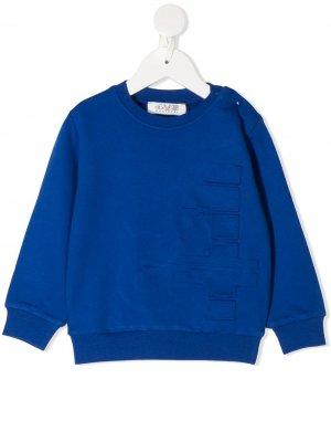 Толстовка с тисненым логотипом Cesare Paciotti 4Us Kids. Цвет: синий