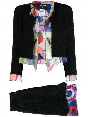Костюм-тройка с юбкой 2000-х годов Chanel Pre-Owned. Цвет: черный