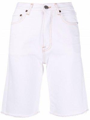 Джинсовые шорты с завышенной талией Haikure. Цвет: белый