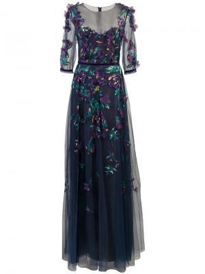 Платье из тюля с вышивкой Marchesa Notte. Цвет: синий