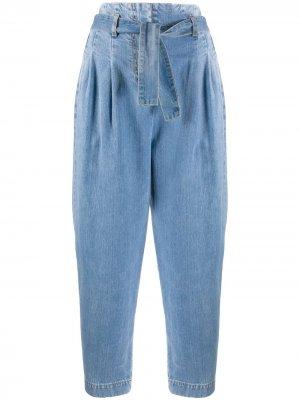 Зауженные джинсы с присборенной талией Wandering. Цвет: синий