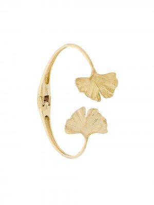 Золотой браслет-кафф Ginkgo Aurelie Bidermann. Цвет: золотистый