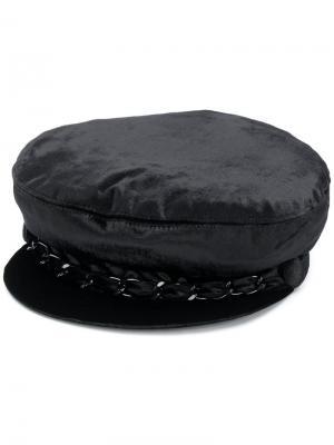 Бархатная кепка с цепочкой Eugenia Kim. Цвет: черный