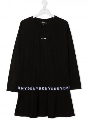 Платье миди с логотипом Dkny Kids. Цвет: черный