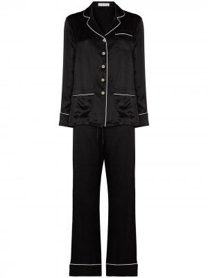 Пижама с контрастной отделкой Olivia von Halle. Цвет: черный