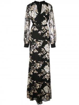 Платье макси с цветочным декором Badgley Mischka. Цвет: черный