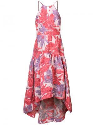 Длинное расклешенное платье с цветочным принтом Badgley Mischka. Цвет: розовый