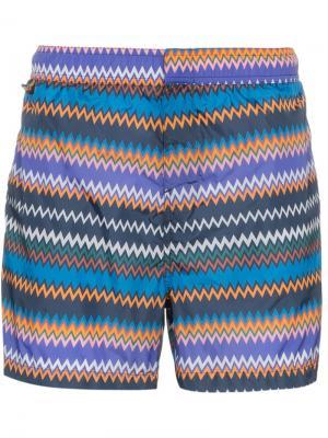 Пляжные шорты в полоску зигзаг Missoni Mare. Цвет: синий