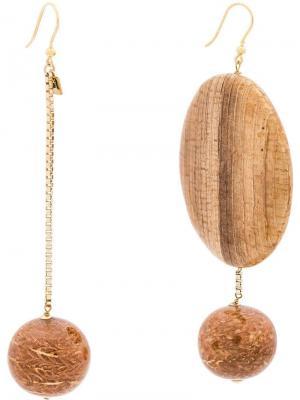 Асимметричные серьги Bambu Rosantica. Цвет: коричневый
