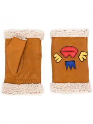 Перчатки с вышивкой Agnelle. Цвет: коричневый