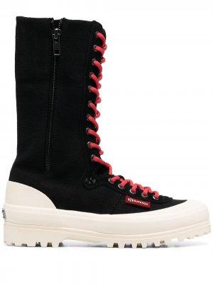 Сапоги на шнуровке Superga. Цвет: черный