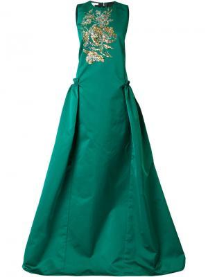 Пышное платье с вышивкой Antonio Berardi. Цвет: зелёный