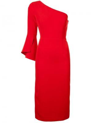 Платье на одном плече Milly. Цвет: красный