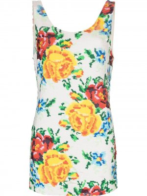 Платье мини с пайетками Ashish. Цвет: белый