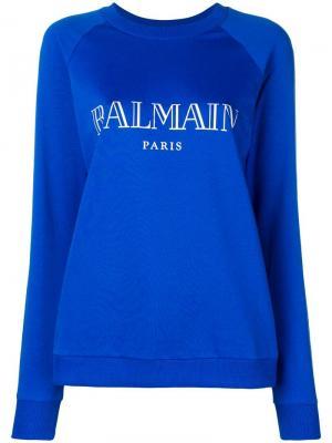 Классический свитер с принтом логотипа Balmain. Цвет: синий