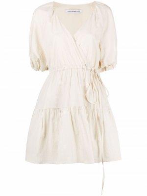 Платье мини с пышными рукавами CAMILLA AND MARC. Цвет: нейтральные цвета