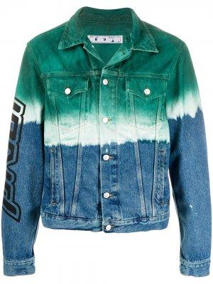 Джинсовая куртка с эффектом деграде Off-White. Цвет: синий