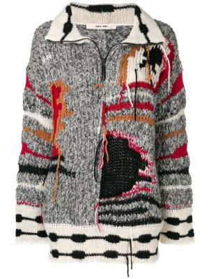 Colour-block embroidered sweater Damir Doma. Цвет: серый