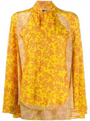 Блузка с цветочным принтом и расклешенными рукавами Rokh. Цвет: желтый
