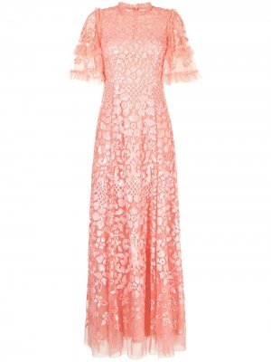 Платье Aurelia с короткими рукавами Needle & Thread. Цвет: розовый
