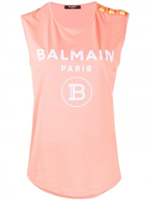 Топ без рукавов с логотипом Balmain. Цвет: оранжевый