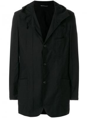 Куртка-рубашка с капюшоном Yohji Yamamoto. Цвет: черный
