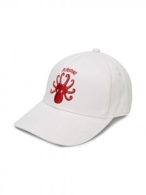 Бейсболка Octopus с вышивкой Mini Rodini. Цвет: белый