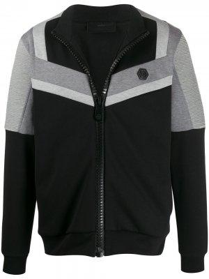 Спортивная куртка в стиле колор-блок Philipp Plein. Цвет: черный