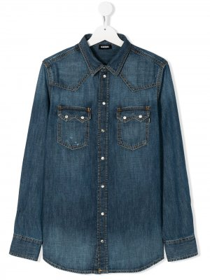 Джинсовая рубашка с длинными рукавами Diesel Kids. Цвет: синий